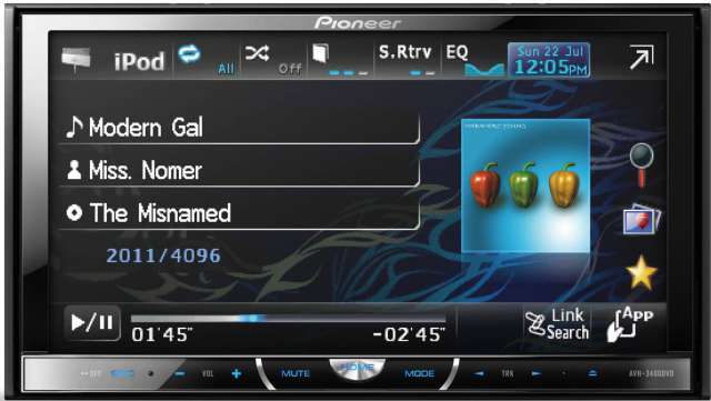 Pioneer AVH-P3400DVD DVD\CD\MP3\WMA Receiver